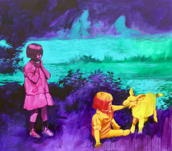 Meine Schwester, die Ziege und ich 150x130cm